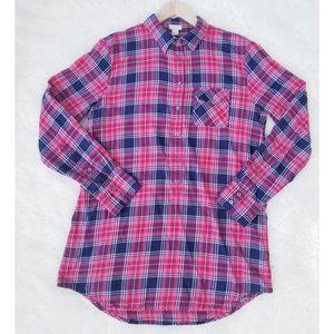 J.Crew Plaid Flannel Tunic Button Down Shirt